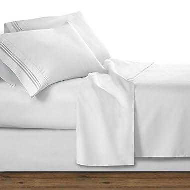 Clara Clark 1800 Premier Series 4pc Bed Sheet Set - King, White,