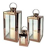 Mojawo Splendido set da 3 lanterne da giardino, dal design elegante in acciaio inox di colore oro rosa/rame, da 22/32/46 cm di altezza