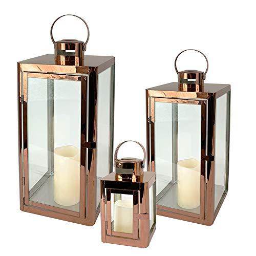 Mojawo Traumhaftes 3er Set Gartenlaterne Edelstahl Rosegold/Kupferfarben Windlicht Laternen Set Höhe 22/32/46cm Edel Design