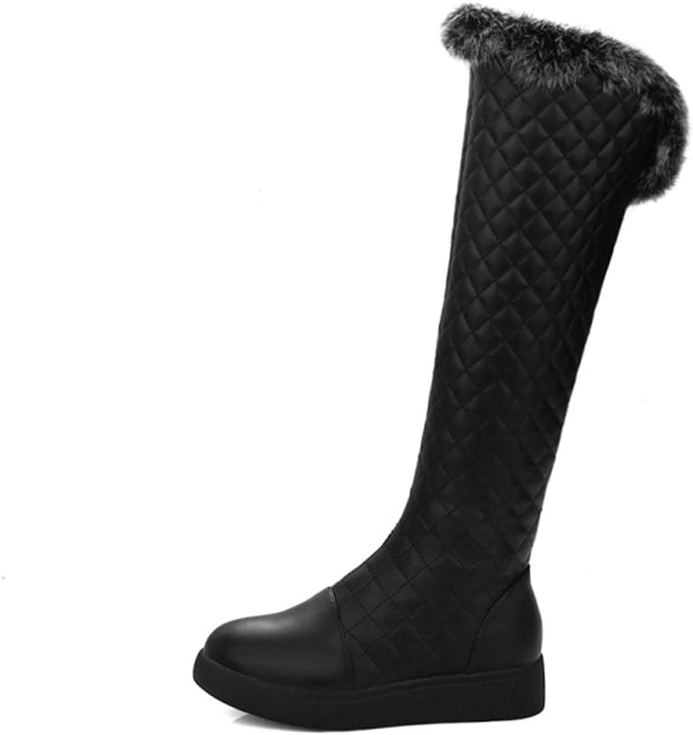 T-JULY Fashion Knee-high Boots for Women Winter Rabbit Fur Warm shoes Girls Flat Platform Long Boots Keep Warm Snow Boots