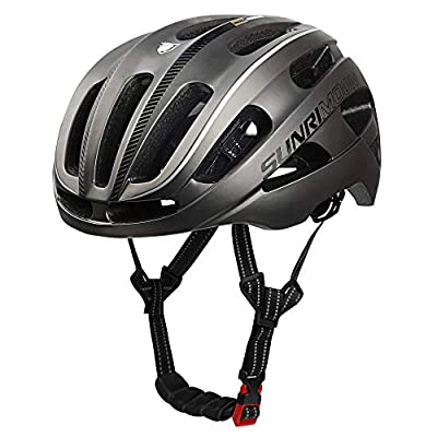 SUNRIMOON Adult Bike Helmet, Bicycle Helmet CPSC Certified with Rechargeable LED Light, Upgrade U Shape Side Strap Adjustable Size for Mountain & Road Cycle Helmets for Adult Men/Women - Titanium
