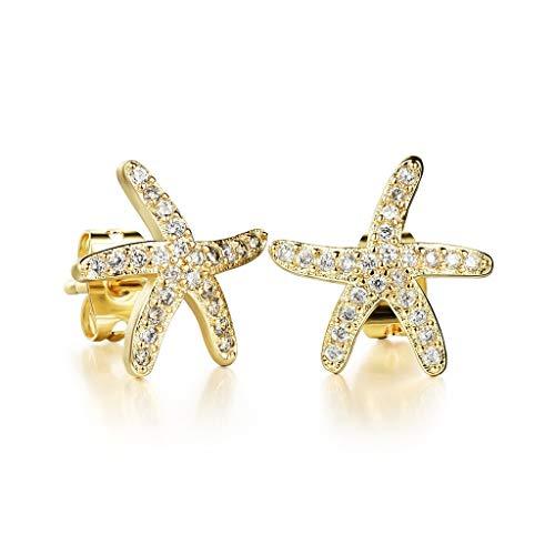 YHDD Dulce y Encantadora Llena de Diamantes, Estrellas de mar, Pendientes, Accesorios, Venta al por Mayor, Regalos, señoras, Pendientes de Diamantes. (Color : Gold)