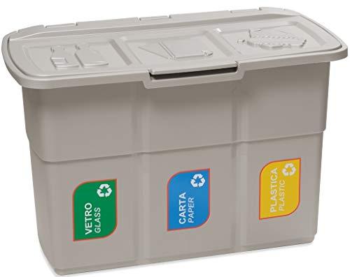 Mobile tris vuilnisemmer grijs uniek gedeeld in 3 vakken à 25 l voor afvalscheiding emmer met deksel en stickers van kunststof