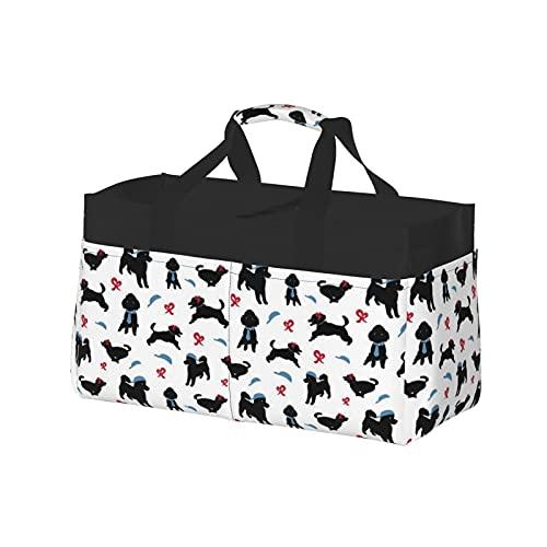 Extra große Einkaufstasche – Übergroßer Strandkorb aus Segeltuch, wiederverwendbare Einkaufstasche, weiß, Happy Poodle Dekor Stock