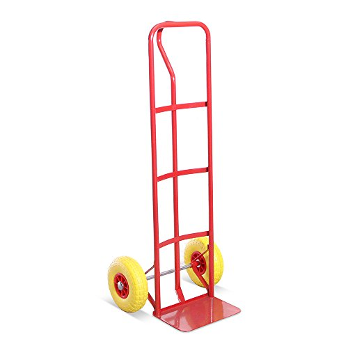 G-Rack, Industrielle P-Griff Sackkarre aus Stahl mit hoher Rückseite und stichfesten Reifen. 325kg Gesamtlastkapazität - 5 Jahre Garantie.Rot