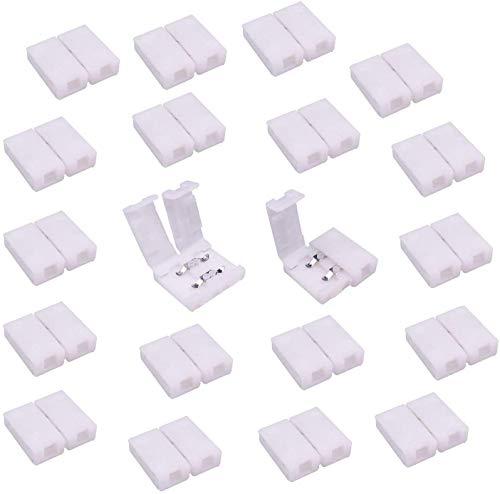 LitaElek Connecteur Ruban LED Connecteur Rapides Bande LED à 2 Broches pour Strip LED SMD 3528 2835 de Couleur Unique imperméable et Non-imperméable de 8mm de Large, Soudage Gratuit (20pcs)