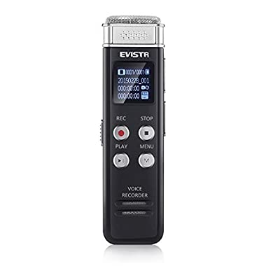 Upgraded Voice Recorder Evistr 8GB Digital Audio Sound Recorder Dictaphone, Voice Activated Recorder with MP3 Player,Auto Saving File Every 5 Seconds