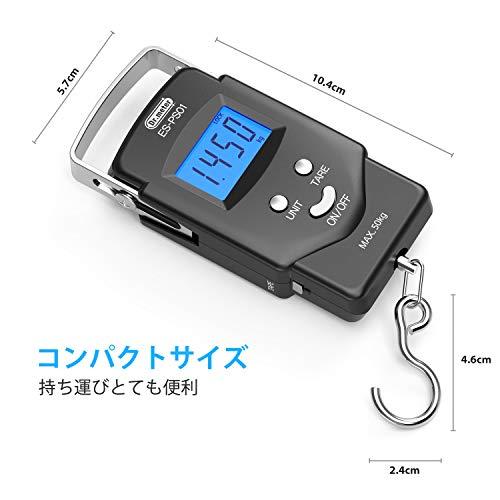Dr.meter吊りはかりフィッシングスケールデジタルはかり吊りスケールデジタル秤釣りはかり計測ツール旅行釣り携帯便利アウトドア軽量巻き尺付き50kgバックライト付