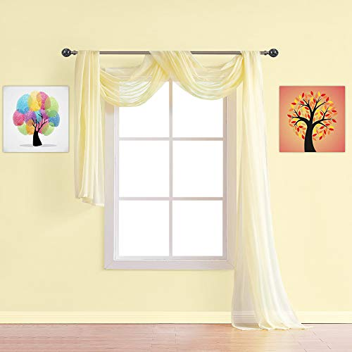 Warm Home Designs Extra Long Light Yellow Sheer Window Scarf. Valance Scarves are 56 X 216 Inches in Size. Great As Window Treatments, Bed Canopy Or for Decorative Project. AM Yellow 216'