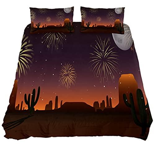N\O Fireworks Sky Desert Scene - Juego de ropa de cama transpirable, 3 piezas, funda de edredón (1 funda de edredón + 2 fundas de almohada), microfibra ultra suave (no incluye edredón)