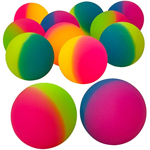 Jumbo Super Bouncy Balls - (Pack of 12) 2.35 Inch Balls for Kids in Bright Assorted Multi Colors for Birthday Party Favors and Carnival Prizes in Bulk by Bedwina