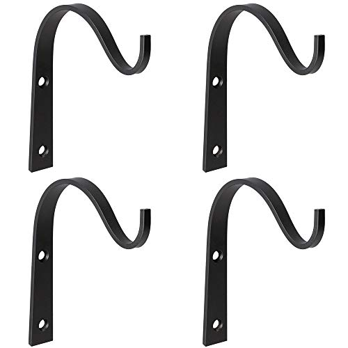Mkono Iron Wall Hooks Metal Lantern Bracket Decorative Coat Hook for Hanging Lantern,Bird Feeders,Wind Chimes,Plant Planter,Coat, Indoor Outdoor Rustic Home Decor, 4 Pack, 3 Inches