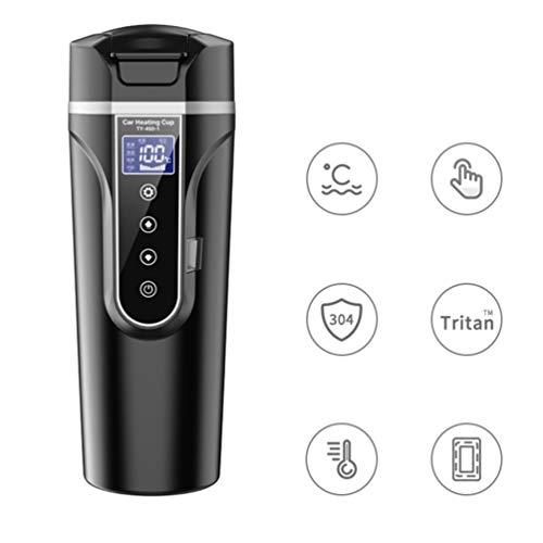 WINOMO 12V Car Travel Heating Mug, Electric Heated Coffee Mug for Car Smart Heated Mug Warmer with LCD Temp Display and Control