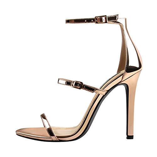 LISHAN Women's Ankle Strap Stiletto Open Toe Sandals Sexy Triple Strappy High Heel Party Wending Dress Evening Shoes Champagne Gold Size 6