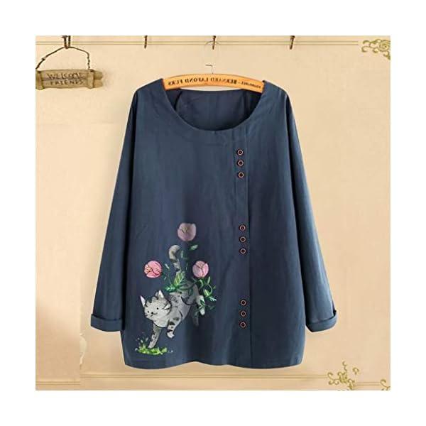 Women's Plus Size Tops Floral Print Button Down Cotton Linen T-Shirt Casual Blouse 6