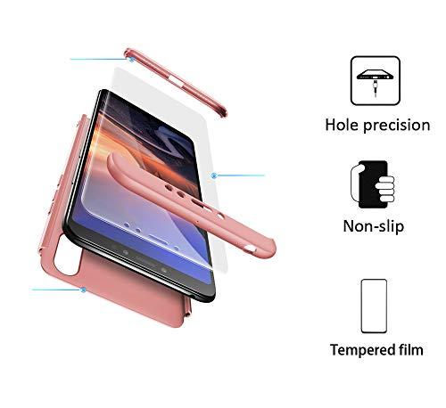 xinyunew Hülle kompatibel mit Xiaomi Mi Max 3+Panzerglas Schutzfolie,Superleichte Superdünne 3 in 1 PC Schutzhülle Etui Stoßfeste Kratzfeste Handyhülle mit 360 Grad R&umschutz Rose Gold