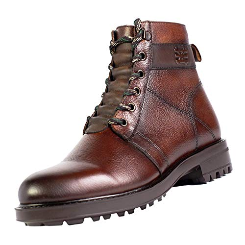 Sabatter Mens Leather Combat Boots in Brown - Hand Dyed Plain Toe Hiking Boot for Business Casual Winter with Extra Light Thick Rubber Sole and Memory Foam Insole for Full Foot and Back Support - Rosselvet