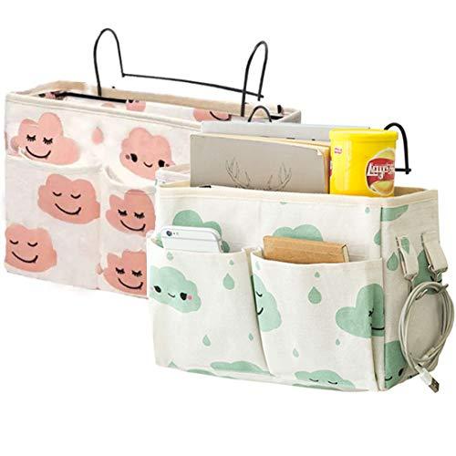 Bolsillo organizador para mesita de noche, bolsa de almacenamiento para colgar en la mesita de noche, cestas de almacenamiento para cama o mesita de noche, bolsillo para raíles de cama, sofá, litera