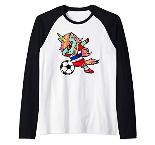 Dabbing Unicorn Fútbol de Tailandia - Bandera de Tailandia Camiseta Manga Raglan