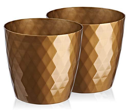 Juego de 2 macetas decorativas de plástico brillante y ligeras, modernas y redondas para interiores, 12 cm, color dorado