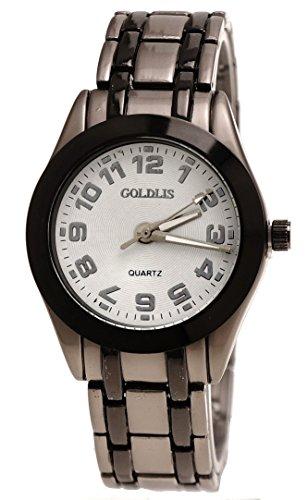 Edle Armbanduhr Kristallschliff Schwarz Grau weiß