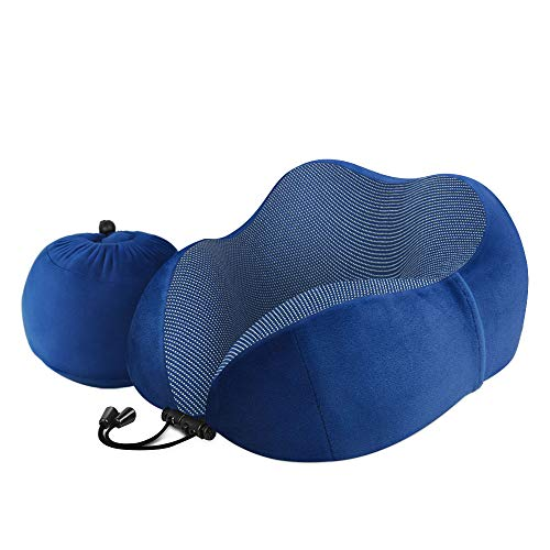 Travel Pillow - Luxsure Memory Foam Neck Pillow & Comfortable Head Cushion Flight Pillow Special Designed for Airplane & Car & Office Use (Blue)