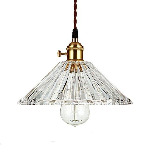 HJXDtech- Industrie-Weinlese-Kristallglas-Pendelleuchte Plissee Lampenschirm Hängelampe Retro Loft Bar Deckenleuchte - 25cm (Bronze-Halter)