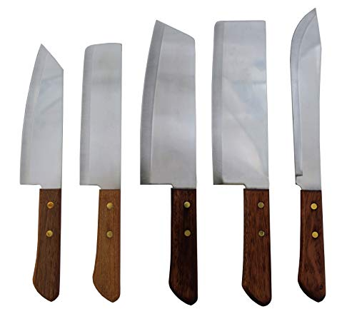 yoaxia ® Marke - Thailand Messerset [ 5 Messer: #248, 22, 21, 171, 172 ] Messer mit Holzgriff + 1 Essstäbchen-Helfer gratis