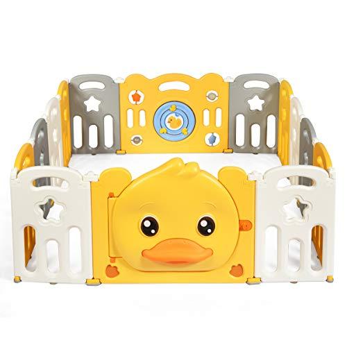COSTWAY Box Recinto per Bambini da Giocare, Pieghevole con 14 Pannelli, con Porta e Giochi Multipli (160 x 169 x 67 cm)