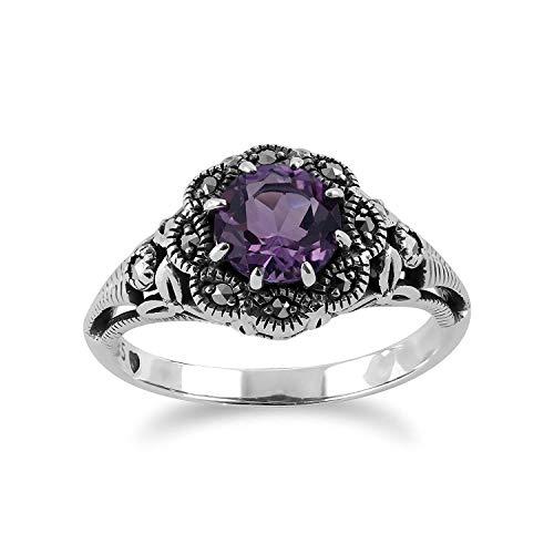 Sterlingsilber 0,6 KT Amethyst & Markasit Ring