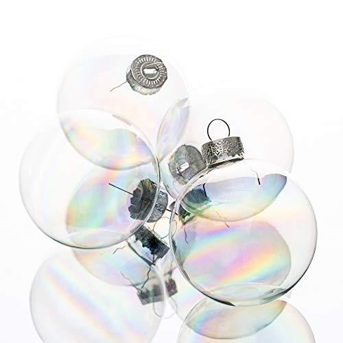 "Richland Glass Ornaments 2.5"" Set of 24 Christmas Iridescent"