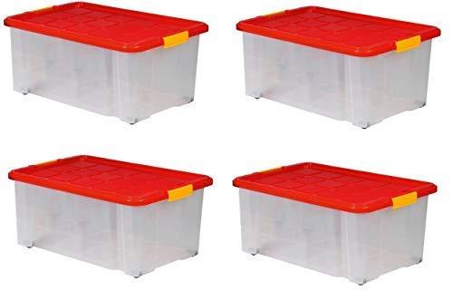 ARTECSIS 4 Boîtes De Rangement Plastique 45L avec Couvercle, 60x40x25 cm, sur roulettes Empilable Gerbable Emboîtable