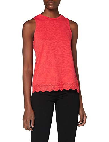Superdry Damen LACE Mix Vest Pullunder, Rot (Hibiscus QNF), M (Herstellergröße:12)