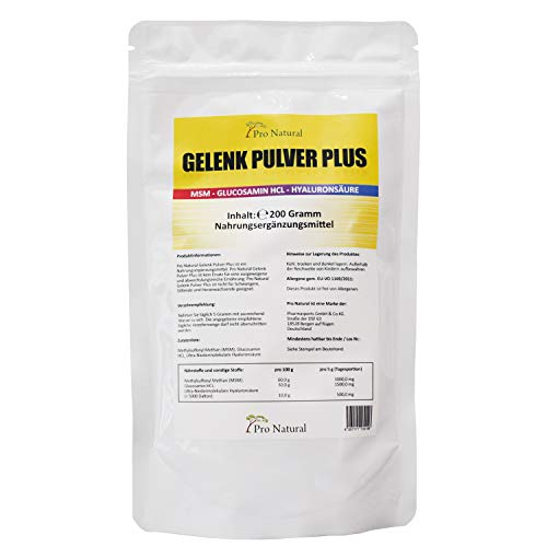 Gelenk Pulver Plus - pures Hyaluron säure Glucosamin MSM rein hochdosiert