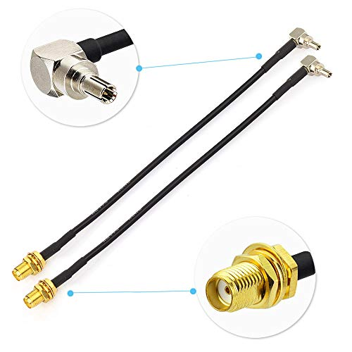 Eightwood 4G Antenne SMA-kabel 4G LTE CRC9 mannelijk haaks op SMA Vrouwelijk Schot Antenne Verlengkabel RG174 6inch 15cm 2st voor 4G-router 2G 3G 4G LTE antenne UMTS Mobiel Breedband