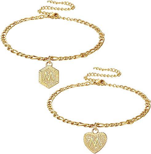 Adramata 2Piezas Heart Hexagon Initial Tobillo Pulseras para Mujer,Dainty Letter Colgante Pulseras para el Tobillo para Mujeres Hombres Adolescentes,Joyas de Pie de Moda Personaziled Iniciales