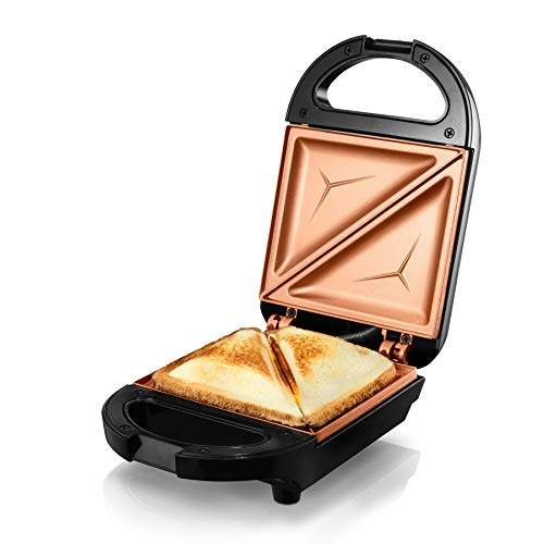 GOTHAM STEEL 2980 Maker, Toaster and Electric Panini Grill with Ultra Nonstick Copper Surface Makes Sandwich in Minutes with Virtually No Clean Up, Single, Brown