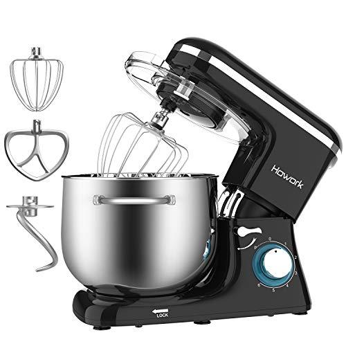 Capacità 8 liter Impastatrice Howork, 1500W Planetaria Robot da cucina per pane, pizza, dolci e pasticceria, 6 velocità con ciotola in acciaio inossidabile (8 liter, nero)