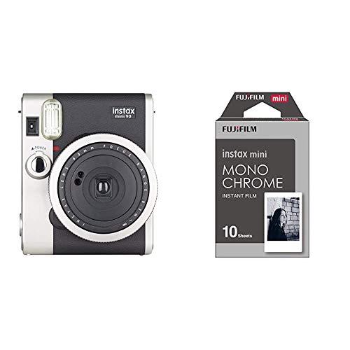 Fujifilm Instax Mini 90 Neo Classic, Color Negro + m Instax Mini Monochrome - Película Instantánea