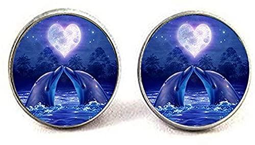 Moda delfines amante de la foto de los pendientes de cristal de la joyería de la manera de la joyería regalos