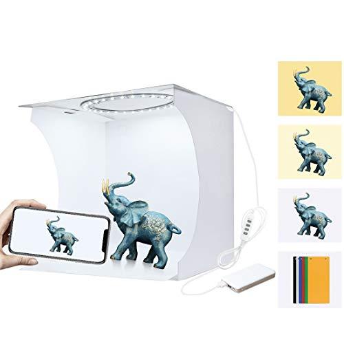 JSANSUI Fotografie Hintergrund Kit 20cm Ring LED Panel klappbaren tragbaren Licht-Foto-Beleuchtung Studio-Schießen-Zelt-Kasten-Set mit 6 Farben kulissen, Entfalten Größe: 24cm x 23cm x 22cm