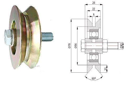 Zabi Fahrbahnrollen metallrollen für L-Profil (Winkel) d = 79 mm ,Transportrollen