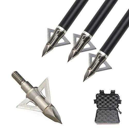 12pcs Punta di Freccia 100 Grains Punte da Caccia Lama Fissa Testa Larga con Scatola di Broadhead Box per Frecce Balestra di Carbonio