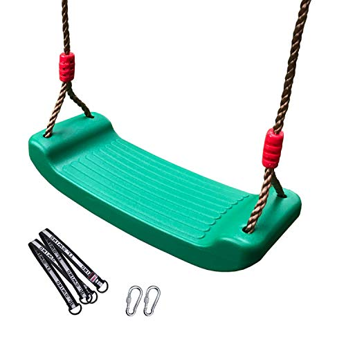 XTSKLY Plastic Swing Seat with Adjustable Rope, Kids Tree Swing Seat, Swing Set Accessories for Outdoor Indoor, Tree, Backyard, Playground, Green