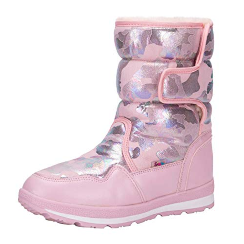 Fheaven Waterproof Frosty Snow Boot for Women Girls Winter Boot Cold Weather Boot Pink
