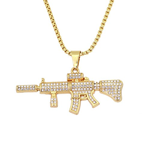 MCSAYS Hip Hop Jewelry Iced Out Gun Pendant Stainless Steel Round Box Chain Cool Bling Weapon Necklace Fashion Accessories