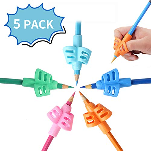 Mlife Pencil Grips - Children Pencil Holder Writing Aid Grip Trainer, Ergonomic Training Pen Grip Posture Correction Tool for Kids (Set of 5PCS)