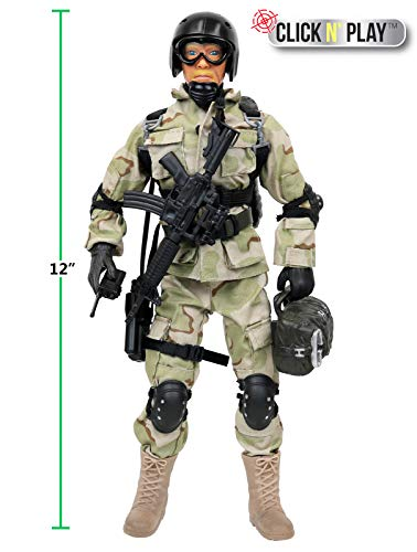 """Click N' Play Military Airborne Paratrooper 12"""""""" Action Figure Play Set Accessories"""