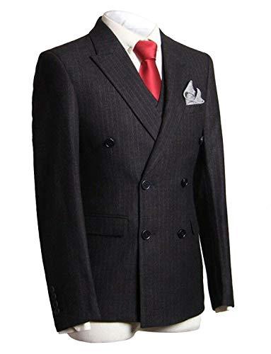 CALVINSUIT Herren Nadelstreifen 3 Stück Anzug Slim Fit Streifen Zweireiher Jacke Hose Weste