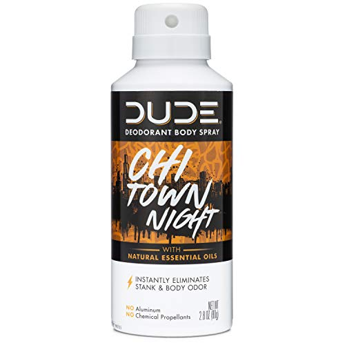 DUDE Deodorant Body Spray, Multi Purpose with Natural Essential Oils, Chi Town Night, 2.8 Ounces